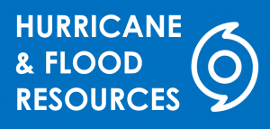"""White text on a blue background reads """"Hurricane and Flood Resources"""" next to an emergency icon."""