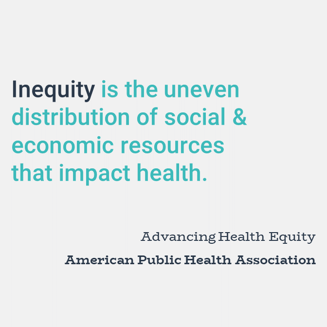 Inequity is the uneven distribution of social and economic resources that impact health.